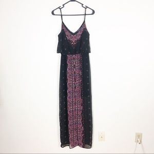 Express Black & Red Patterned Maxi Dress